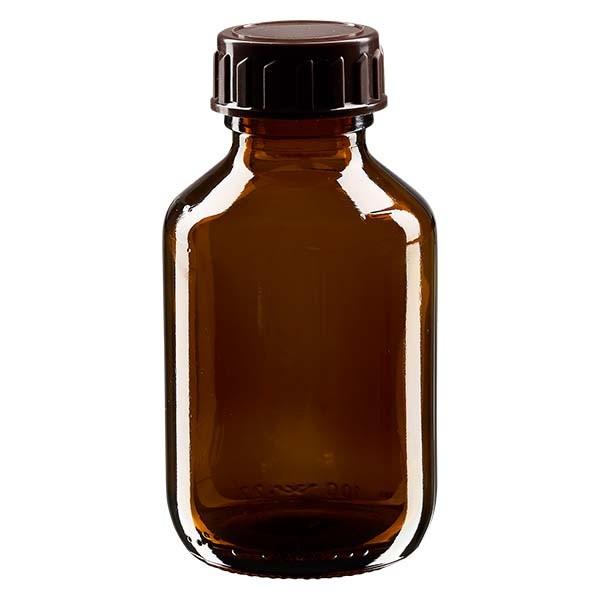 100ml Euro-Medizinflasche braun mit braunem Verschluss