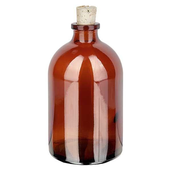 Injektionsflasche Braunglas 100ml mit Korken 11/14mm