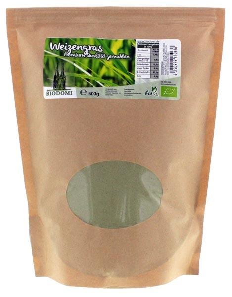 Bio Weizengras 500g, Premium Qualität gemahlen von Biodomi