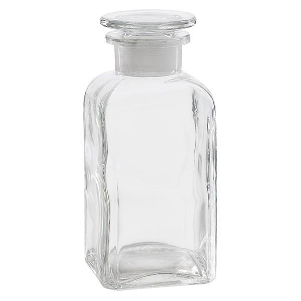 Vierkant-Apothekerflasche 350 ml Weithals Klarglas inkl. Glasstopfen