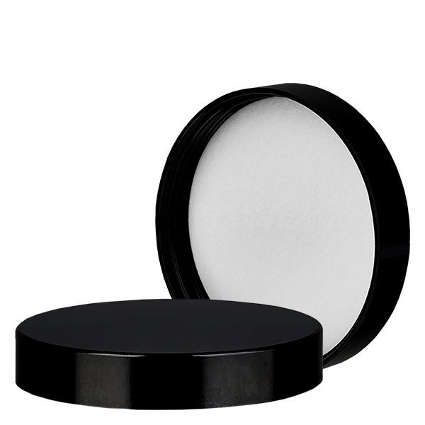 Deckel aus schwarzem Bakelit für 180 ml Salbenglas 63mm/R3 mit Dichtungseinlage