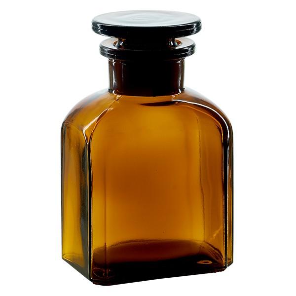 Vierkant-Apothekerflasche 150 ml Weithals Braunglas inkl. Glasstopfen
