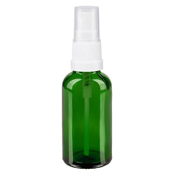 Grünglasflasche 30ml mit Pumpzerstäuber weiss