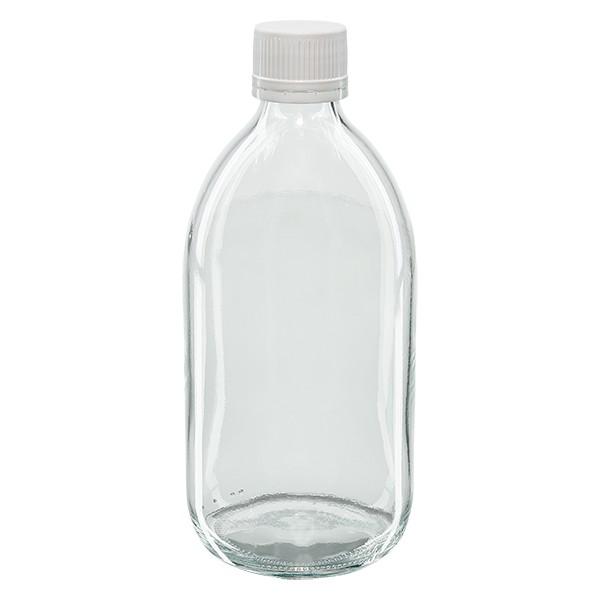 500ml Euro-Medizinflasche klar mit weissem gerillten Schraubverschluss OV