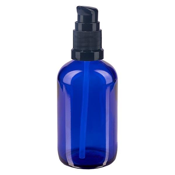 Blauglasflasche 100ml mit Pumpverschluss schwarz