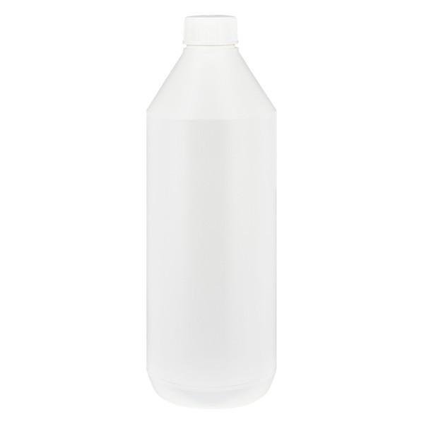 Runde Lotionsflasche 1000ml weiss, ND32, mit StV