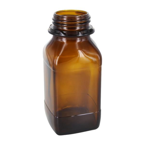 500 ml quadratische Weithalsflasche (Chemikalienflasche) Braunglas mit DIN 54 (Raster Kranz) Mündung