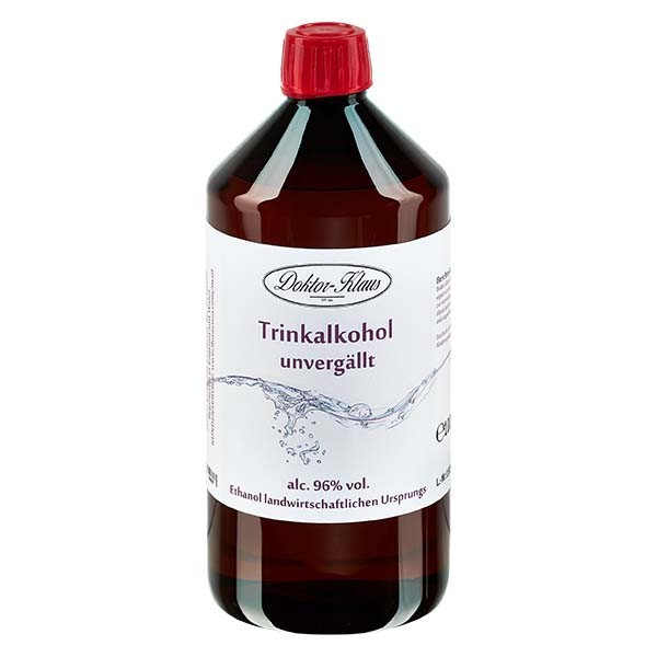 1000ml Primasprit 96% vol. Alc. in brauner PET Flasche mit OV (Weingeist Trinkalkohol)