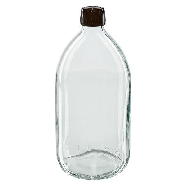 1000ml Euro-Medizinflasche klar mit braunem Schraubverschluss OV