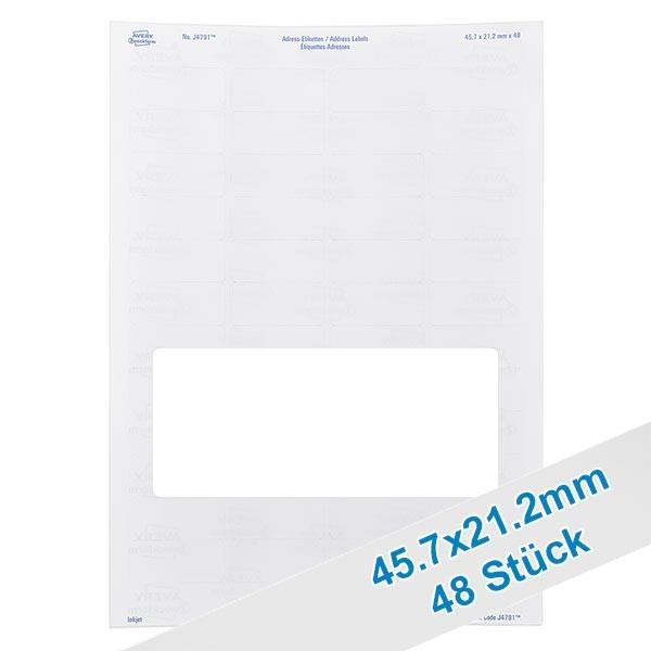 48 Etiketten, weiß, wieder ablösbar 46x21mm