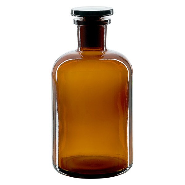 Apothekerflasche 500 ml Enghals Braunglas inkl. Glasstopfen
