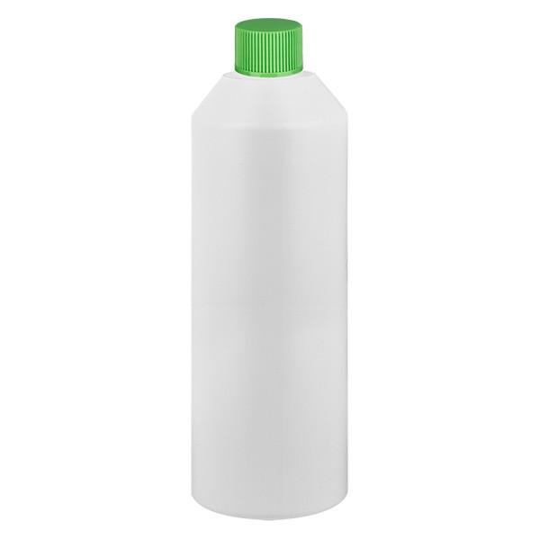 PET Zylinderflasche 250ml weiss, S20x3 mit grünem SV