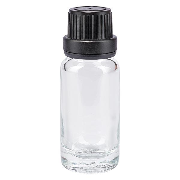 Apothekenflasche klar 10ml Schraubverschluss schw. Dicht. OV