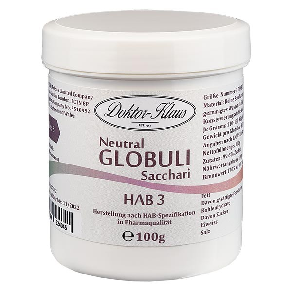 100g Neutral Globuli HAB3 aus 100% reiner Saccharose