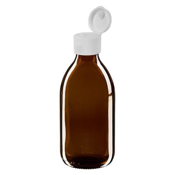 250ml Euro-Medizinflasche braun mit weissem Klappverschluss