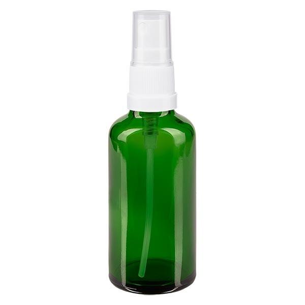 Grünglasflasche 50ml mit Pumpzerstäuber weiss