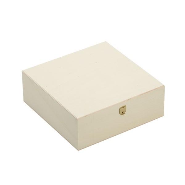 Holzbox quadratisch mit Klappdeckel 20x20x7cm geschlossen
