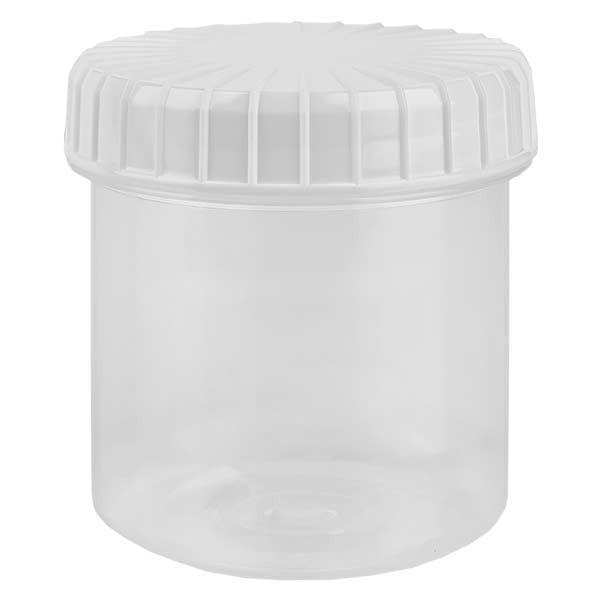 Kunststoffdose 75ml transparent mit gerilltem weissen Schraubdeckel aus PE, Verschlussart Standard