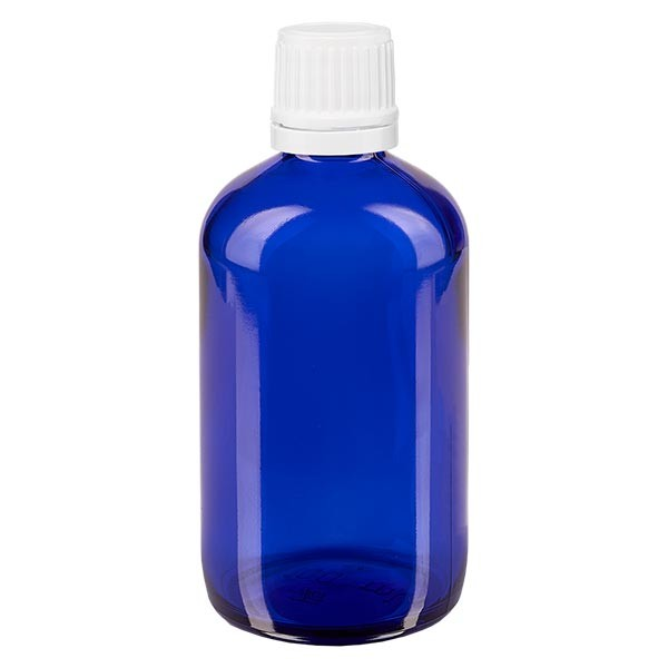 Apothekenfl. blau 100ml Tropfv. 1.2mm weiss OV