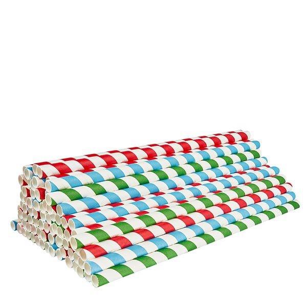 100 x Öko Strohhalme aus Papier Ø 8mm, Höhe 21cm, verschiedene Farben
