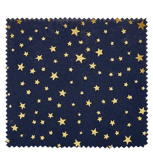 1 x Stoffdeckchen 150x150mm Dunkelblau mit goldenen Sternen für Deckel Durchmesser 43-100mm