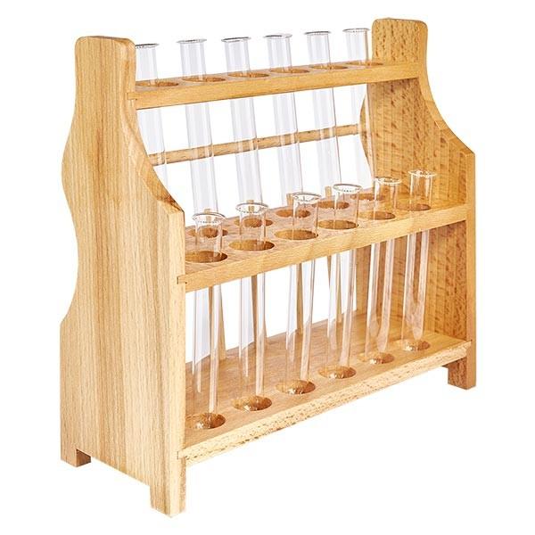 Reagenzglasgest.aus Holz mit 12 Reagenzgl.Borosilikat 100x12