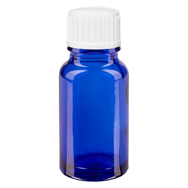 Apothekenfl. blau 10ml Schraubv. weiss Globuli St