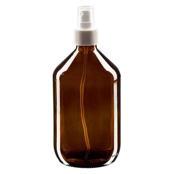 500 ml Euro-Medizinflasche braun mit weissem Zerstäuber inkl. transparenter Kappe