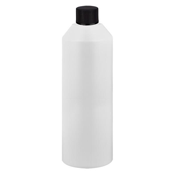 Zylinderflasche HDPE 250ml weiss, S20x3 mit schwarzem SV