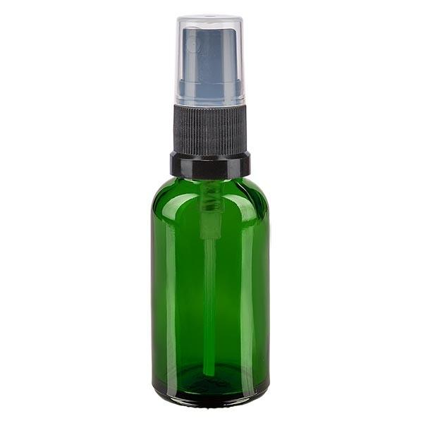 Grünglasflasche 30ml mit Pumpzerstäuber schwarz