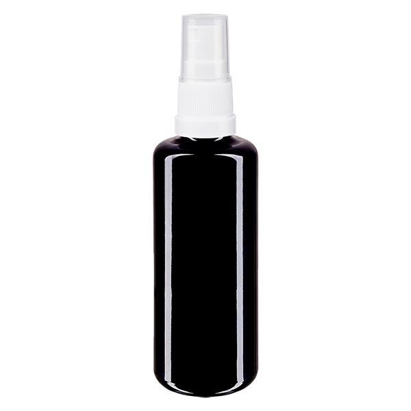 Violettglasflasche 50ml mit Pumpzerstäuber weiss