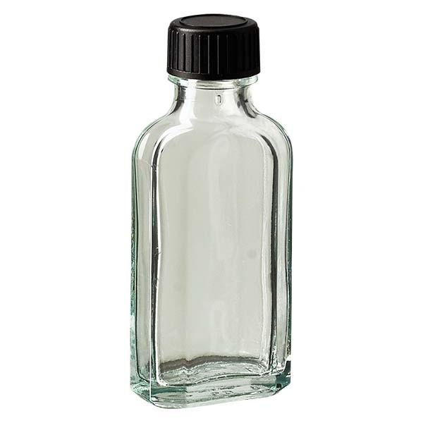 50 ml weiße Meplatflasche mit DIN 22 Mündung, inklusive Schraubverschluss DIN 22 schwarz aus EPE