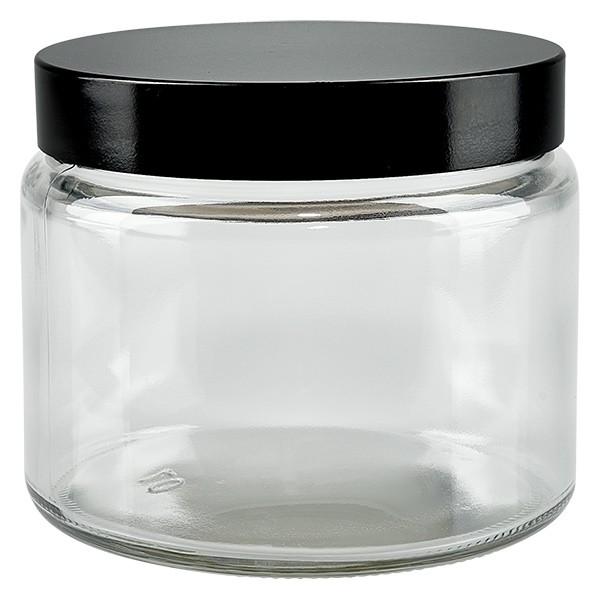 Glastiegel 250ml klar, mit schwarz. Bakelit Deckel