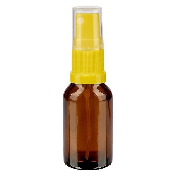 Braunglasflasche 30ml mit Pumpzerstäuber gelb