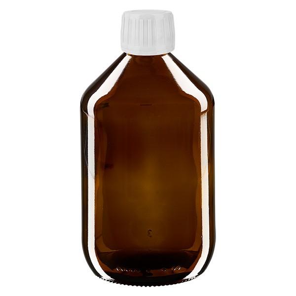 500ml Euro-Medizinflasche braun mit weissem Verschluss OV