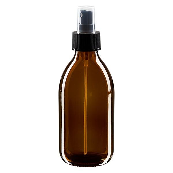 250 ml Euro-Medizinflasche braun mit schwarzem Zerstäuber inkl. transparenter Kappe