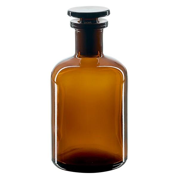 Apothekerflasche 100 ml Enghals Braunglas inkl. Glasstopfen