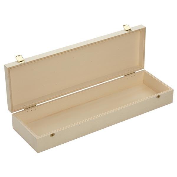 Holzbox mit Klappdeckel 36x11x5cm geöffnet