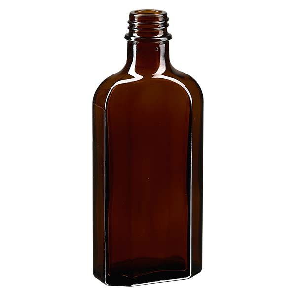 125 ml braune Meplatflasche mit DIN 22 Mündung