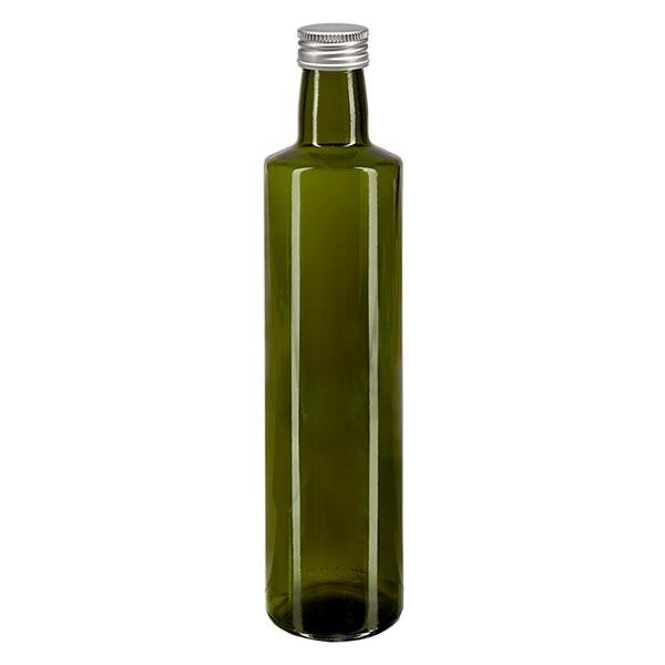 500ml Ölflasche rund Olivgrün inkl. Alu Schraubverschluss Silber (PP 31.5mm)