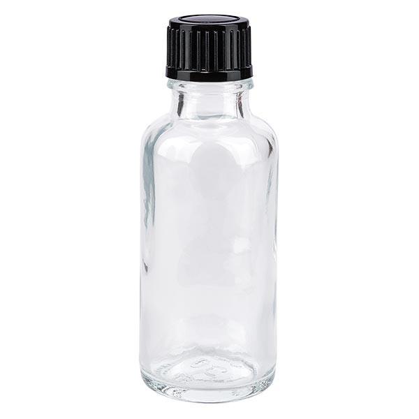 Apothekenflasche klar 30ml Tropfverschluss 1mm schwarz St