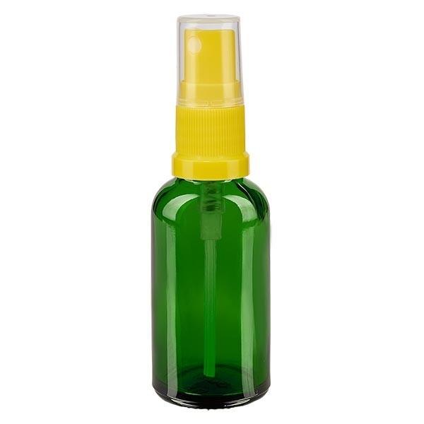 Grünglasflasche 30ml mit Pumpzerstäuber gelb