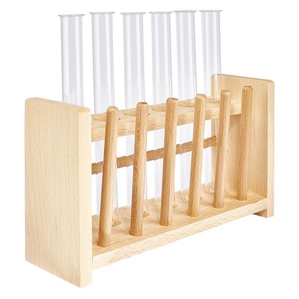Reagenzglasgest.aus Holz mit 6 Reagenzgl. Borosilikat 160x16