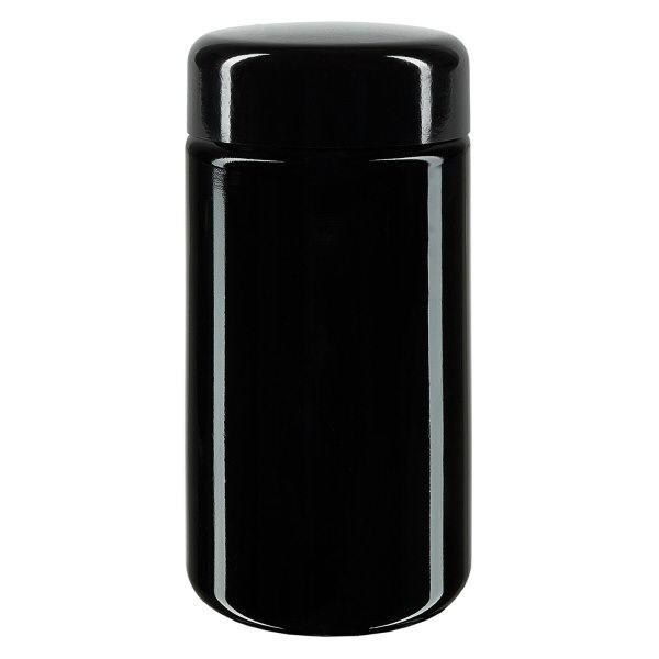 Weithalsdose+ Violettglas 100ml, mit schw. Deckel