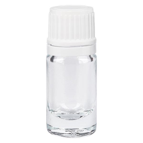 Apothekenflasche klar 5ml Tropfverschluss 1.2mm weiss OV