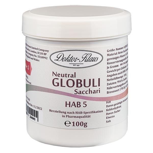 100g Neutral Globuli HAB5 aus 100% reiner Saccharose