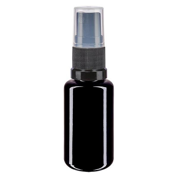 Violettglasflasche 20ml mit Pumpzerstäuber schwarz