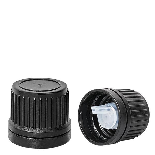 Tropfverschluss 1mm Premium schwarz 18mm mit OV