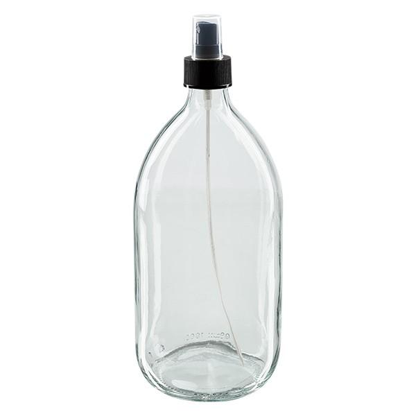Euro-Medizinflasche 1000. klar PP28 mit Zerstäuber schwarz 28 für Medizinflaschen. inkl. Kappe trans