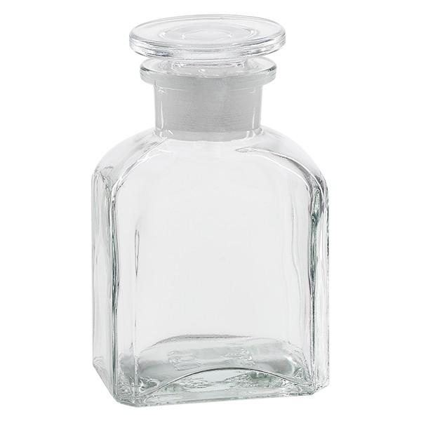Vierkant-Apothekerflasche 150 ml Weithals Klarglas inkl. Glasstopfen